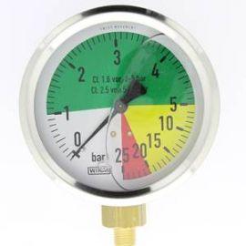 manomètre  à échelle dilatée 100 mm 1/4 - fixation périphérique - 0-15/60 bar