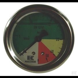 """manomètre  à echelle dilatée 63 mm - 1/4""""- fixation axial - 0-8 -25 bar"""
